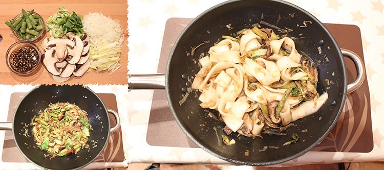 Noodles con verdura y aderezo de soja, veganos