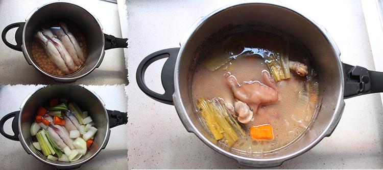 Manitas de cerdo con berza y caldo concentrado de alubias