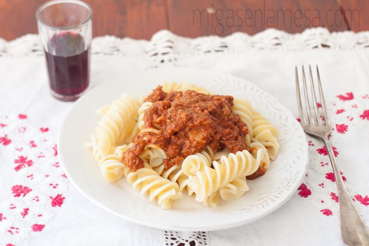 Rigatoni con salsa de asado